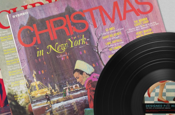 Display of three Christmas in New York album covers from the 1950s and 60s.